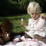 قرد يجد الحنان لدى طفلة 4
