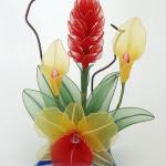زهور مصنوعة من الجوارب الشفاف10