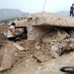 آثار الفيضانات والانزلاقات ال1